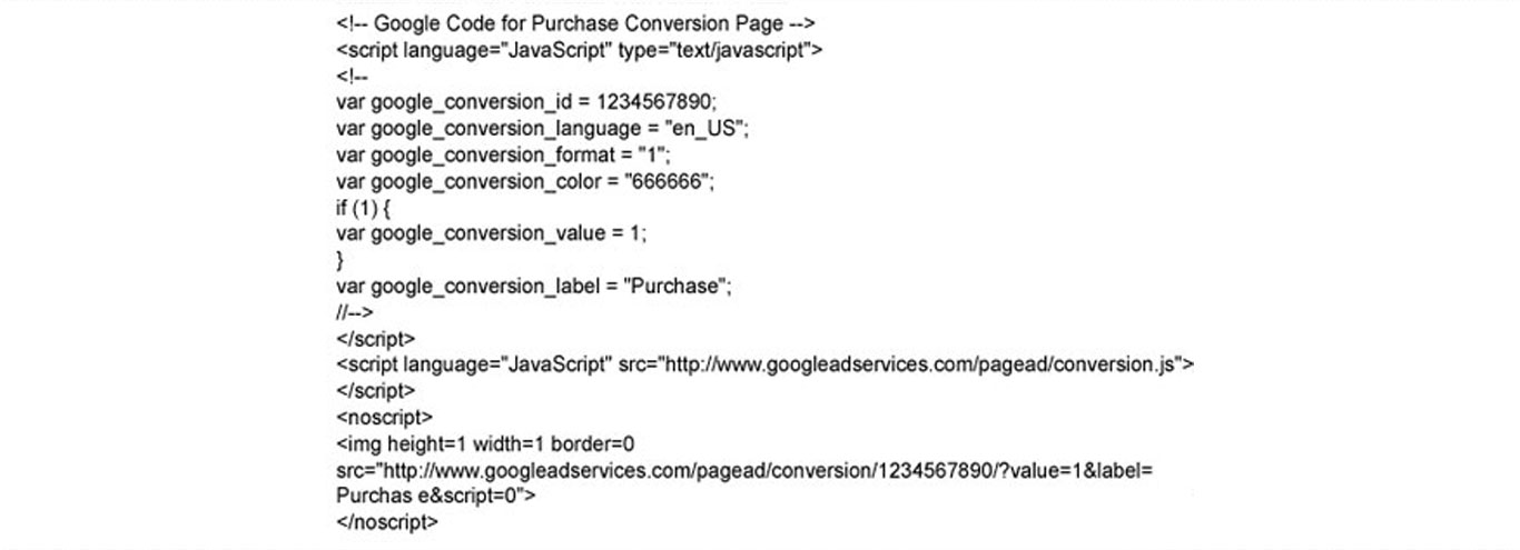 Google Analytics Conversion Tracking Sample Code